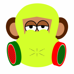 Clipart - monkey wears gas mask
