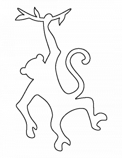 Hanging monkey pattern. Use the printable outline for crafts ...