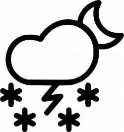 Cloud Night Moon Thunder Snow Storm Svg Png Icon Free Download ...