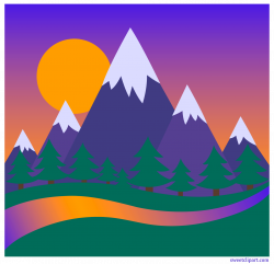 Mountains and Forest Sunset Clip Art - Sweet Clip Art