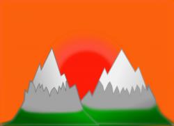 Clipart - Sunset mountain (simple)