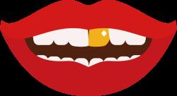 Diente los dientes de Oro Clip art - Labios de color rojo con ...