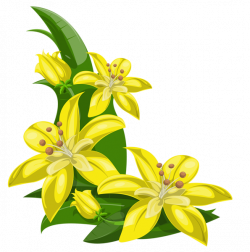Yellow Exotic Flowers Decoration PNG Image | Boarders, Corners ...
