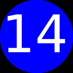 Number 14 Blue Background Clip Art at Clker.com - vector clip art ...