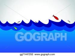 Clip Art Vector - Blue wild ocean sea surface fish. Stock ...