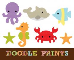 Digital Clip Art Printable - Sea Ocean Clipart Design - Sea ...