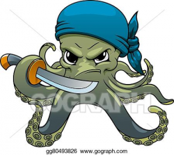 Vector Art - Angry cartoon octopus pirate with sword ...