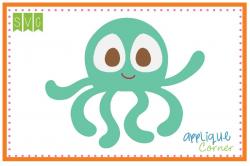 Applique Corner Octopus Boy Big Eye Cuttable SVG Clipart