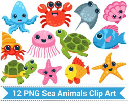 Sea Animal Clipart, Sea Creatures Clip Art, Fish, Turtle ...
