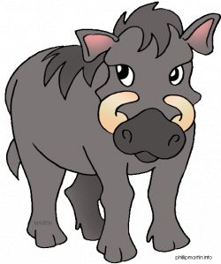 Warthog clipart - Pencil and in color warthog clipart