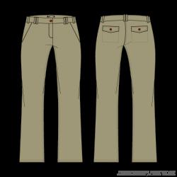 Womens-Khaki-Chino-Pants-Vector-Template | Fashion Flats - Technical ...