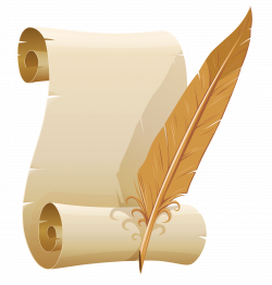 Scrolled Paper and Quill Pen PNG Clipart Image | Gallery ...