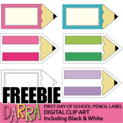 First Day Of School Free Clip Art - Pencil Label Clipart