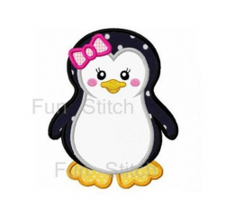 Girl penguin applique machine embroidery design   Products ...