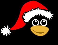 Public Domain Clip Art Image | Funny tux face with Santa Claus hat ...