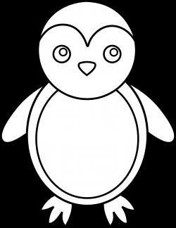 Penguin Line Art - Free Clip Art