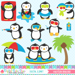 Vacation Penguins Clipart-penguins, christmas, vacation ...