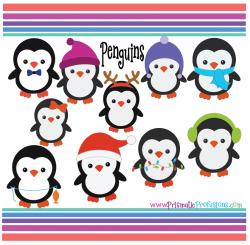 Winter Penguins SVG, Winter Penguins Clipart, Winter Penguins Cut File,  Winter Penguins Printable, Winter Penguins