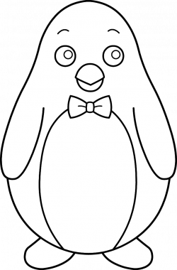 Colorable Penguin With Bow Tie Free Clip Art Free Coloring Pages Of ...