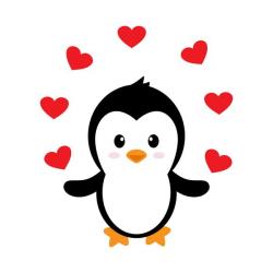 Cartoon cute penguin with love vector illustration 06 ...