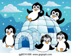 Vector Stock - Igloo with penguins theme . Clipart ...