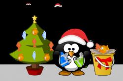 Clipart - Penguin Xmas card