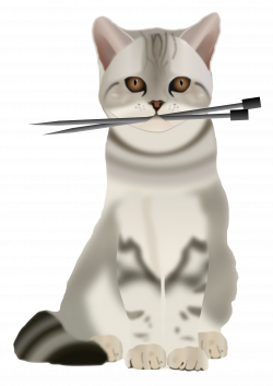 Clipart - Cat with Knitting Needles