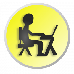Clipart - Working with laptop