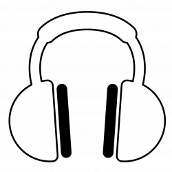 Headphones Black And White Clipart