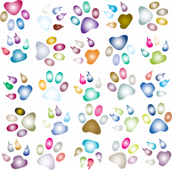 Clipart - Colorful Paw Prints Pattern Background Reinvigorated 3 No ...