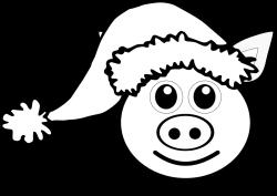 Pig 1 face Pink with Santa Hat Black White Line Art Christmas Xmas ...