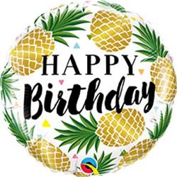 Qualatex Happy Birthday Golden Pineapple 18