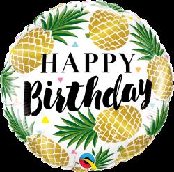 18″ Golden Pineapples Birthday Foil Balloon – Sprinkie Parties