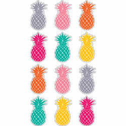 TCR 5862 TROPICAL PUNCH PINEAPPLES MINI CUTOUTS