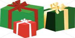 Three Gift Boxes with Christmas Colors | Church Birthday Clipart