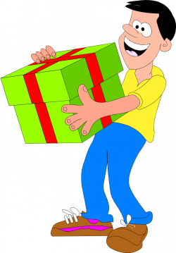 Present | Free Stock Photo | Illustrated man with big green present ...