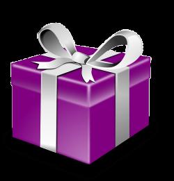 Caja de Regalo Morada con Cinta Plateada PNG transparente - StickPNG