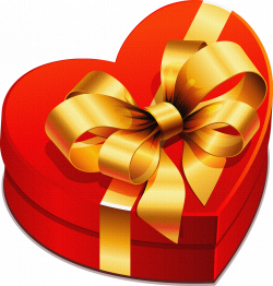 Large Heart Gift Box with Gold Bow Clipart | Gallery Yopriceville ...