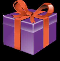 Clipart - Purple present orange ribbon
