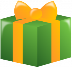 Gift With Green Wrapping And Gold Ribbon Clip Art at Clker.com ...