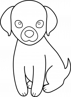 Colorable Puppy Line Art - Free Clip Art