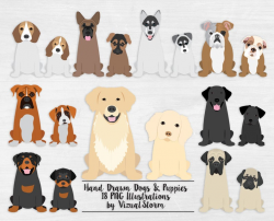 Puppy Dog Clipart Sitting Puppies and Dogs Digital Pet Scrapbooking  Graphics Labrador Husky Bulldog Shepherd Boxer Beagle Rottweiler Mastiff