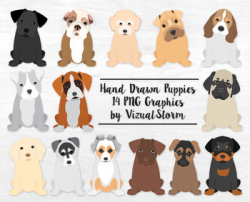 Puppy Clipart -14 Hand Drawn Sitting Puppies - REVISED Illustrations