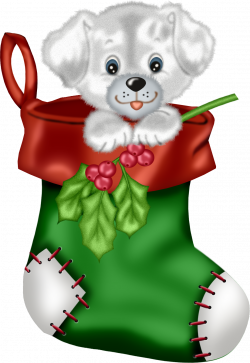 Christmas Green Stocking with Puppy PNG Clipart   Gallery ...