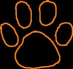 Black Tiger Paw Print With Orange Outline Clip Art at Clker.com ...