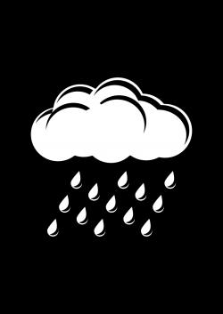 Clipart - Raincloud Black & White