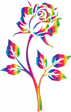 Clipart - Rainbow Rose No Background