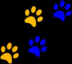 Blue/gold Paw Print Clip Art at Clker.com - vector clip art online ...