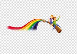 Child Cartoon, God opened the pen rainbow elements ...