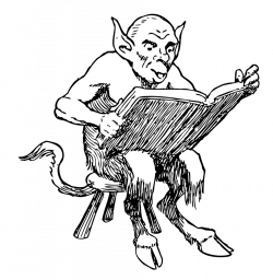 Public Domain Clip Art Image   demon reading book   ID ...